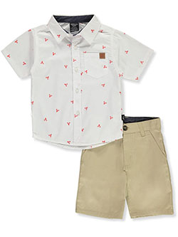 Lobster Print 2-Piece Shorts Set Outfit by American Hawk in Khaki, Boys Fashion