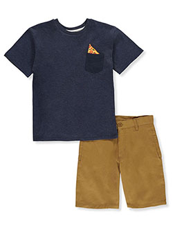 Pocket Share 2-Piece Shorts Set Outfit by Pure One in Khaki, Boys Fashion