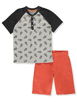 Pineapple Henley 2-Piece Shorts Set Outfit by Pure One in Gray/coral