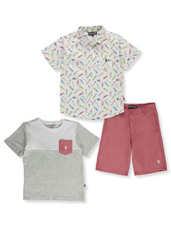 Surf Print 3-Piece Shorts Set Outfit by English Laundry in White/multi