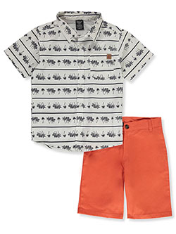 Palm Print 2-Piece Shorts Set Outfit by American Hawk in White/orange, Sizes 8-20