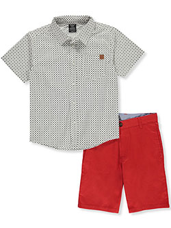 Dot Print 2-Piece Shorts Set Outfit by American Hawk in White/red, Sizes 8-20