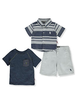 Horizontal Stripe 3-Piece Shorts Set Outfit by English Laundry in Multi