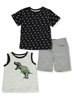 Dinosaur 3-Piece Shorts Set Outfit by American Hawk in Multi, Infants