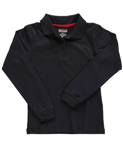 Nautica Big Girls' L/S Knit Polo Shirt with Picot Collar (Sizes 7 - 16) - CookiesKids.com