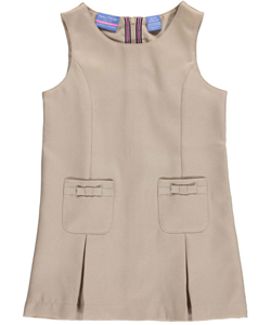 "Nautica Little Girls' ""Grosgrain Bow Pockets"" Jumper (Sizes 4 – 6X) - CookiesKids.com"