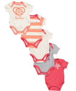 "Nautica Baby Girls' ""Cute Sailboat"" 5-Pack Bodysuits - CookiesKids.com"