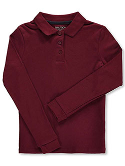 School Uniform L/S Knit Polo with Picot Collar by Nautica in burgundy, orange and white