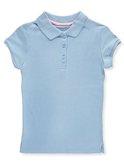 Little Girls' Knit Polo with Picot Collar by Nautica in blue, gray, pink and white