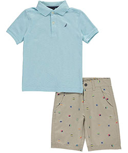 "Nautica Little Boys' ""Twill Cubes"" 2-Piece Outfit (Sizes 4 – 7) - CookiesKids.com"