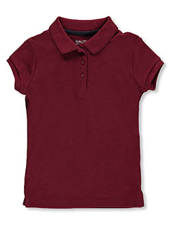 "Little Girls' ""Picot Collar"" S/S Polo by Nautica in Burgundy - $9.99"