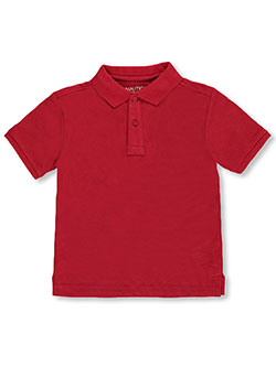 Little Boys' S/S Poly Mesh Polo by Nautica in red and white