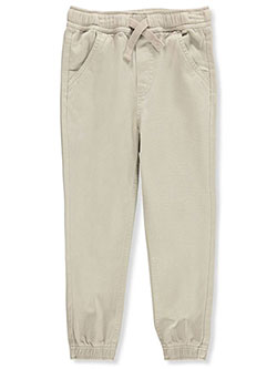 Boys' Tapered Twill Joggers by Nautica in khaki and navy