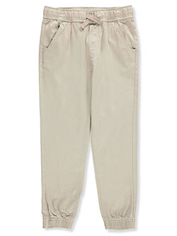 Boys' Husky Size Tapered Twill Joggers by Nautica in Khaki