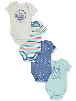 Baby Boys' 4-Pack Bodysuits by Nautica in Blue stripe