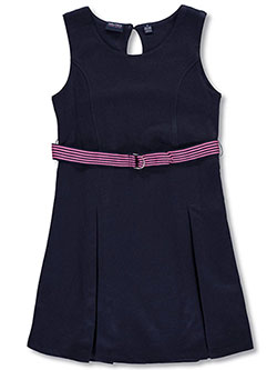 School Uniform Belted French Terry Jumper by Nautica in Navy