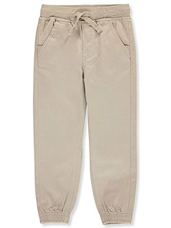 School Uniform Knit Waist Tapered Twill Joggers by Nautica in khaki and navy