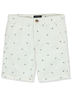 Boys' Anchor Twill Shorts by Nautica in khaki, red and white