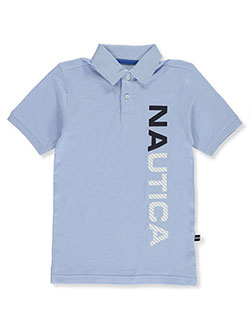 Boys' Vertical Logo Polo Shirt by Nautica in light blue and orange