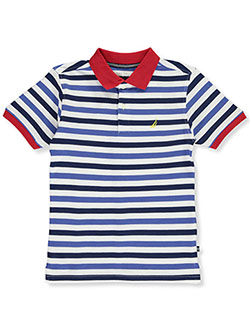 Nautica Childrens Apparel Big Boys Short Sleeve Dark Multi Stripe Polo