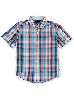 Boys' Plaid Button-Down Shirt by Nautica in Coral