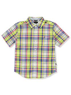 Boys' Plaid Button-Down Shirt by Nautica in Lime