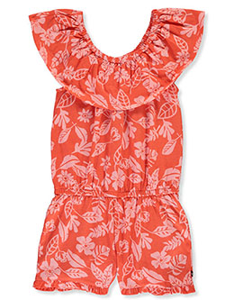 Girls' Tropical Fauna Sleeveless Romper by Nautica in Coral, Girls Fashion