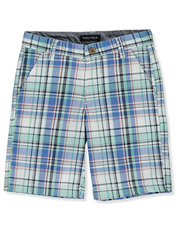 Boys' Flat Front Plaid Shorts by Nautica in White