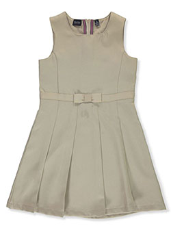 Girls' Bow Waist Pleated School Jumper by Nautica in khaki and navy
