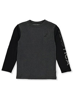 Boys' Contrast Logo L/S T-Shirt by Nautica in charcoal, gray and navy, Boys Fashion