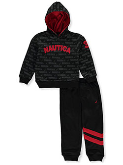 Boys' Text Print 2-Piece Sweatsuit Outfit by Nautica in Black multi