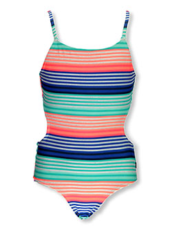 Girls Shimmer Stripe Cutout Back 1-Piece Swimsuit by Nautica in Orange, Sizes 7-16