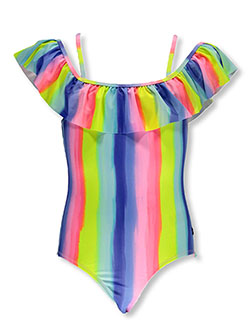 Tropical Stripe Cold Shoulder 1-Piece Swimsuit by Nautica in Fuchsia, Sizes 7-16