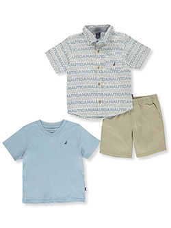 Boys' 3-Piece Shorts Set Outfit by Nautica in Khaki/multi, Sizes 4-7