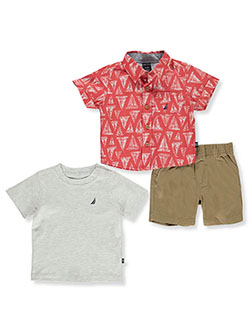 3-Piece Sailboat Shorts Set Outfit by Nautica in White/multi, Infants