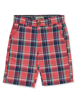 Boys' Plaid Flat Front Shorts by Nautica in Red