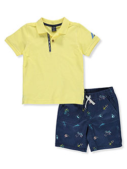 Boys' 2-Piece Shorts Set Outfit by Nautica in Yellow/multi, Boys Fashion