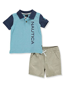 Boys' 2-Piece Shorts Set Outfit by Nautica in Blue/multi, Boys Fashion