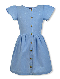 Girls' Chambray Anchor Dress by Nautica in Chambray blue