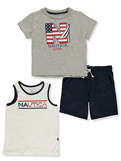 Boys' 3-Piece Terry Shorts Set Outfit by Nautica in Gray/multi, Boys Fashion