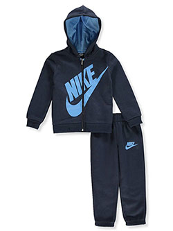 Boys' 2-Piece Sweatsuit Pants Set Outfit by Nike in Obsidian
