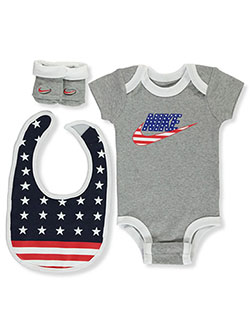 Stars and Stripes 3-Piece Layette Set by Nike in Gray, Infants