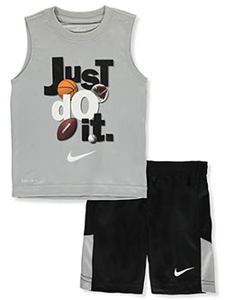 2-Piece Mesh Basketball Shorts Set Outfit by Nike in Black