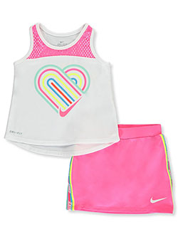 Rainbow Stripe 2-Piece Skort Set Outfit by Nike in Hyper pink, Sizes 2T-4T