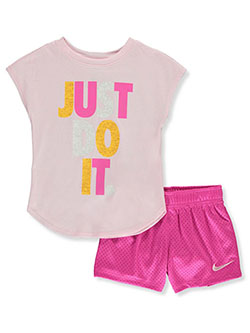 Girls' Just Do It 2-Piece Shorts Set Outfit by Nike in Multi, Sizes 4-6X