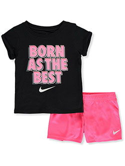 Born As the Best 2-Piece Shorts Set Outfit by Nike in Racer pink