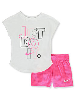 Glitter Just Do It 2-Piece Shorts Set Outfit by Nike in Hyper pink