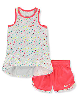 Girls' Polka Dot 2-Piece Shorts Set Outfit by Nike in Multi, Sizes 4-6X