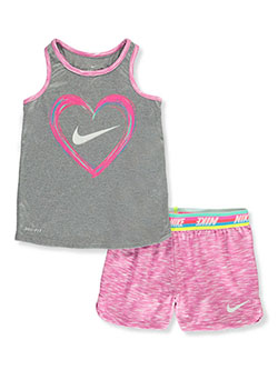 Rainbow Stripe and Space Dye Dri-Fit 2-Piece Shorts Set Outfit by Nike in Hyper pink