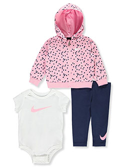 Polka Dot 3-Piece Leggings Set Outfit by Nike in Navy, Infants